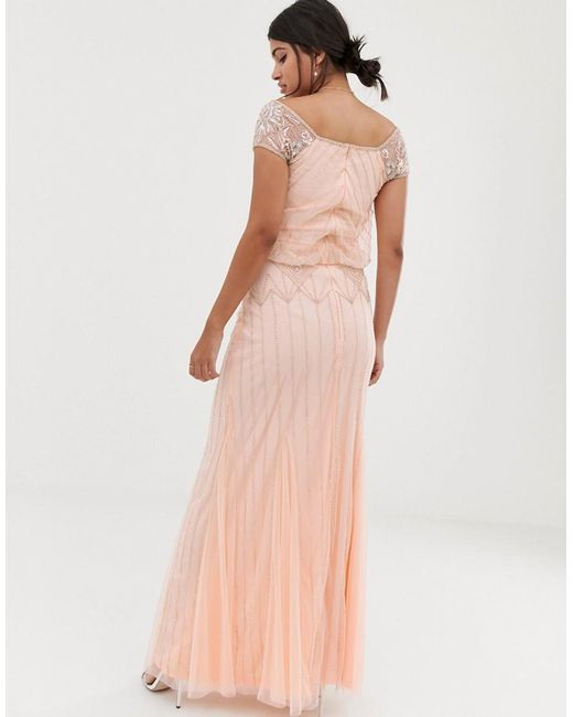 36d312c79d7db ... Amelia Rose - Pink Baroque Embellished Cap Sleeve Maxi Dress In Soft  Peach - Lyst