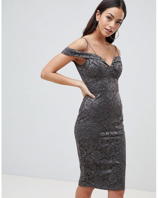 AX Paris - Gray Lace Pencil Dress With Sleeve - Lyst