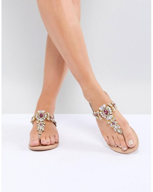 ASOS DESIGN Fairlight Leather Extra Wide Fit Embellished Flat Sandals iZXCVU8n