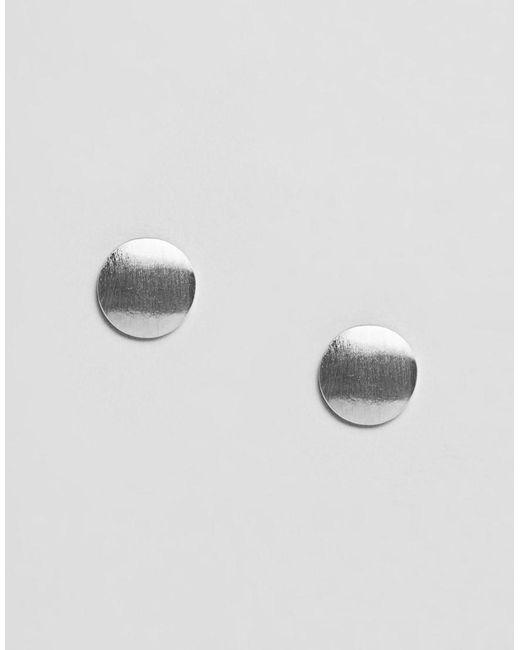 Pieces - Metallic Flat Stud Earrings - Lyst