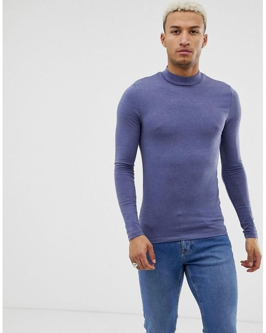eecb5561 ASOS - Muscle Fit Long Sleeve Turtle Neck T-shirt With Stretch In Blue for  ...