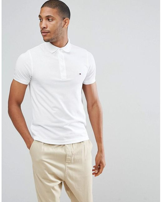 b98c5711 Tommy Hilfiger Slim Fit Polo In White in White for Men - Lyst