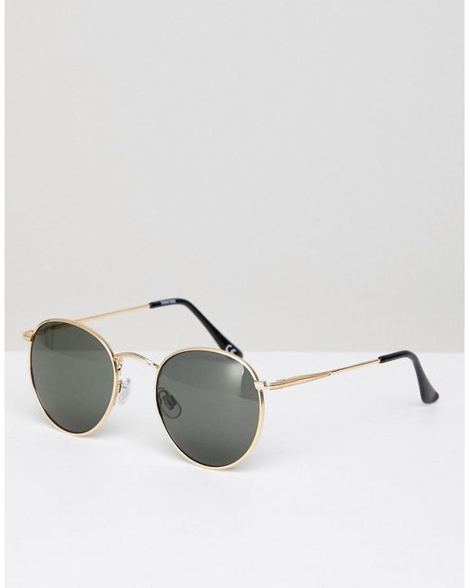 fd530be373108 ASOS - Metallic Round Sunglasses In Gold With Nose Bridge Detail for Men -  Lyst ...