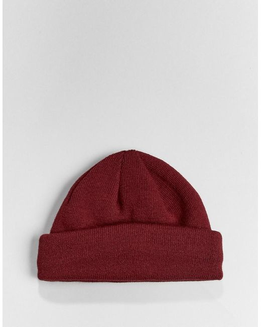 0ba68867cbd087 ... ASOS - Red Mini Fisherman Beanie In Burgundy for Men - Lyst