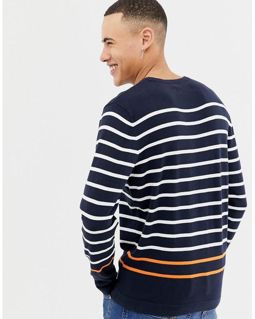 c518e3435ccd ... Jack   Jones - Blue Core Knitted Jumper With Multi Stripe for Men - Lyst
