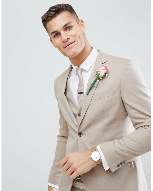 Lyst - Moss Bros Moss London Skinny Wedding Suit Jacket In Latte ...