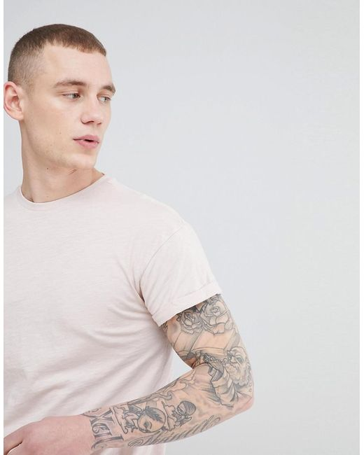 New Look - T-shirt With Roll Sleeve In Light Pink for Men - Lyst