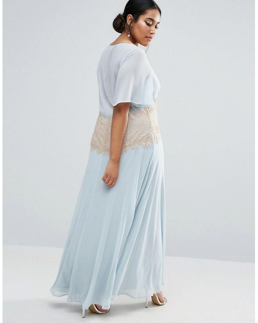 Lyst - Asos Wedding Contrast Lace Panel Maxi Dress in Blue