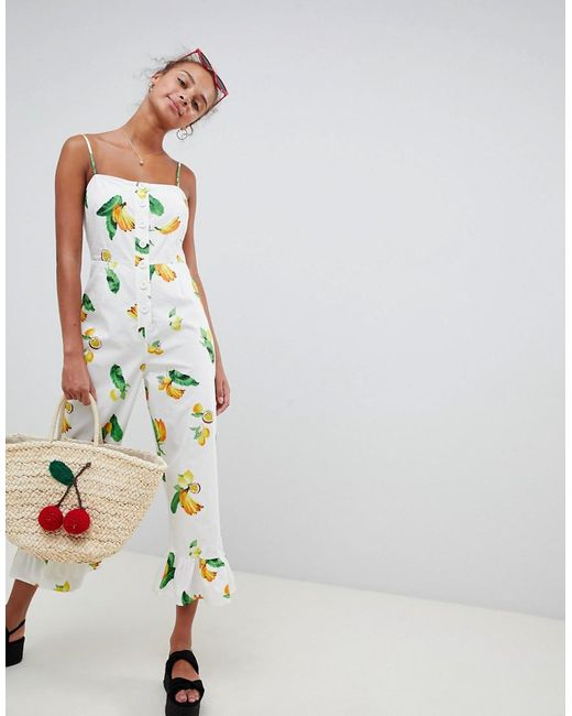 ASOS Multicolor Cotton Frill Hem Jumpsuit With Square Neck And Button Detail In Fruit Print
