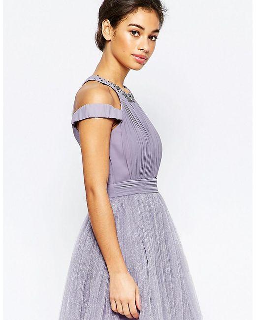 Little Mistress | Purple Cold Shoulder Embellished Prom Dress | Lyst