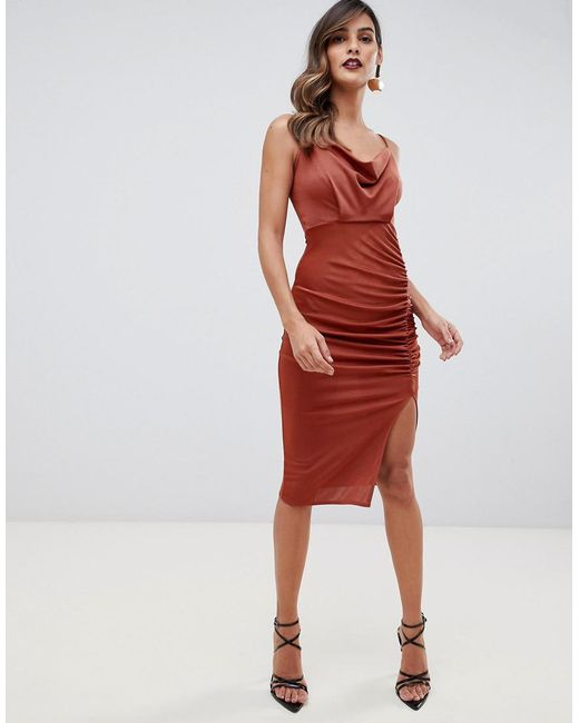 bf73789dcf ASOS - Brown Slinky Ruched Cowl Midi Dress - Lyst ...