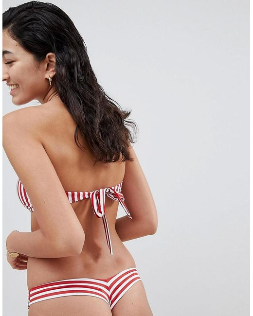 7998c41876f08 Kulani Kinis Red And White Stripe Bandeau Bikini Top in Red - Lyst