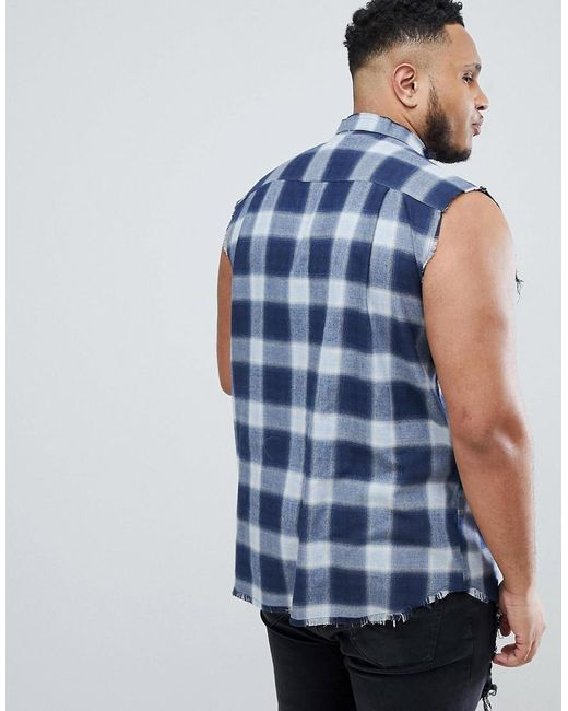 PLUS Sleeveless Muscle Shirt In Blue Check Exclusive to ASOS - Blue Siksilk New Arrival For Sale 2018 Unisex Cheap Price Free Shipping Looking For Super UBw0ODJg0
