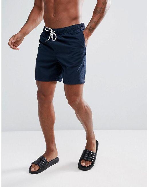 ASOS - Blue Swim Shorts In Navy Mid Length for Men - Lyst