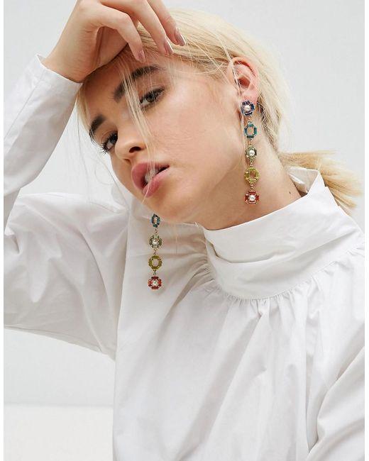 ASOS   Metallic Rainbow Jewel Drop Earrings   Lyst