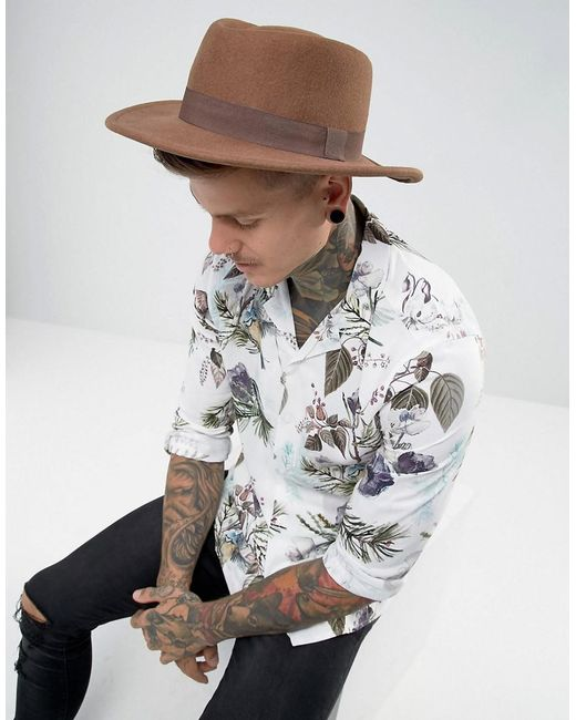 ASOS - Brown Pork Pie Hat In Camel With Diamond Crown for Men - Lyst