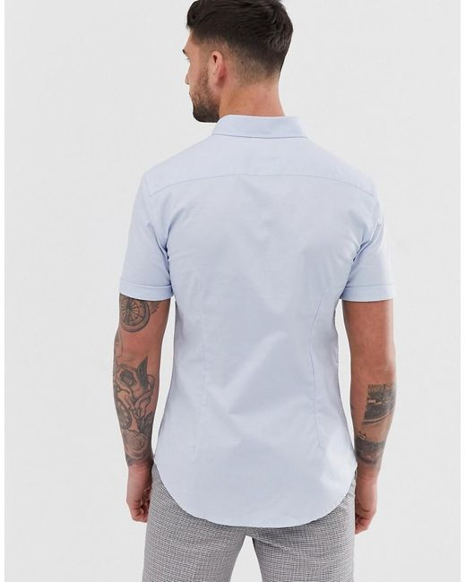 23b31198 New Look Oxford Shirt In Muscle Fit In Light Blue in Blue for Men - Lyst