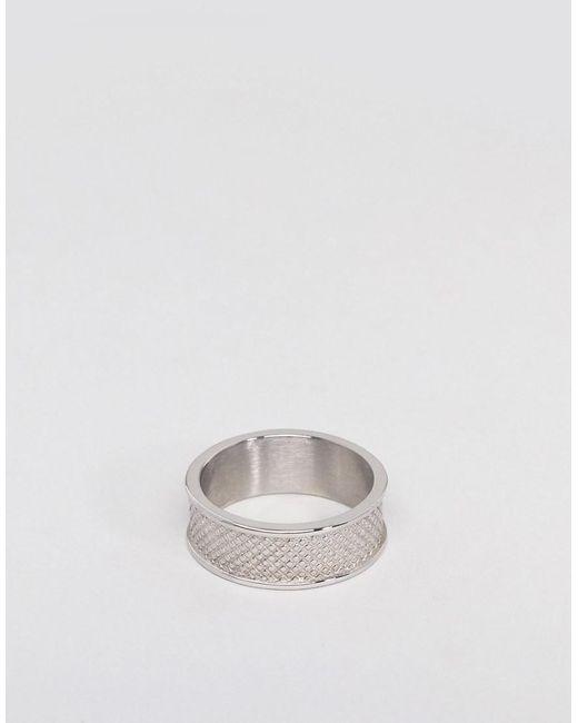 ASOS - Metallic Design Stainless Steel Ring With Emboss for Men - Lyst