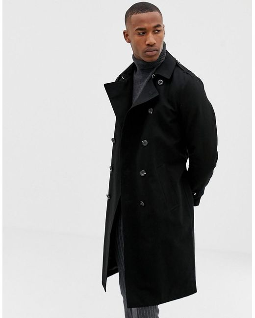 0374f7ab1502 ASOS - Shower Resistant Longline Trench Coat With Belt In Black for Men -  Lyst ...