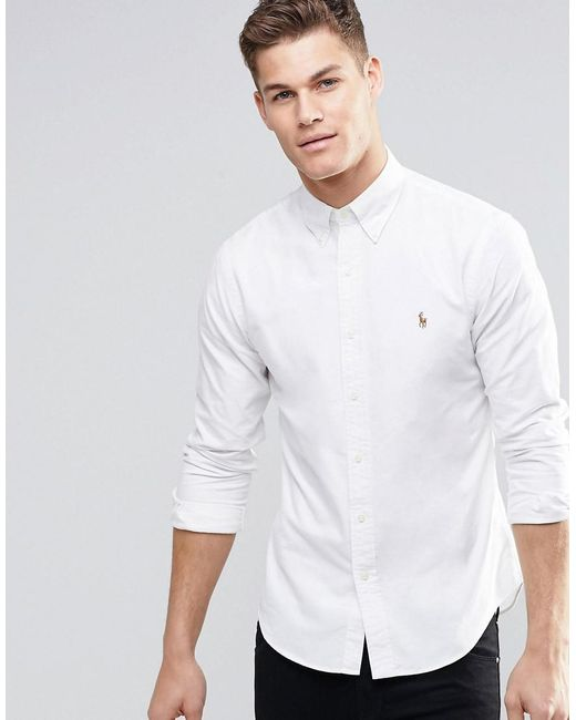 456c1450b44 Polo Ralph Lauren Oxford Shirt In Slim Fit White in White for Men ...