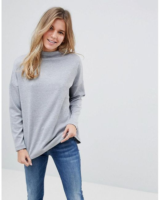 B.Young | Gray Slash Neck Jumper | Lyst