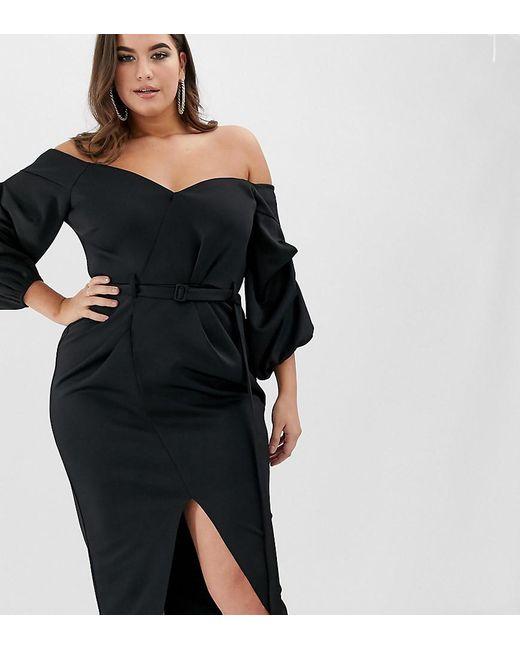55d62118ea38c ASOS - Black Asos Design Curve Bardot Belted Balloon Sleeve Midi Dress -  Lyst ...