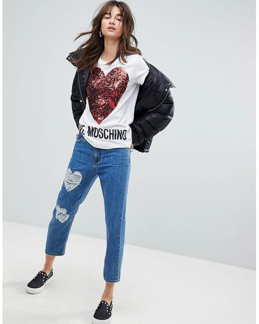 Distressed Mom Jeans - Blue Love Moschino Ehd7ZRIOR