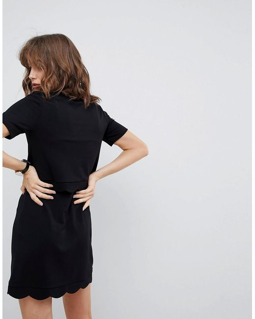 Scalloped Hem Mini Dress With Crop Top - Black Asos VFmIB4e