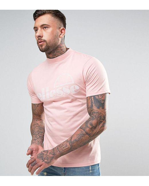 Ellesse | Pink High Neck T-shirt With Flock Logo for Men | Lyst