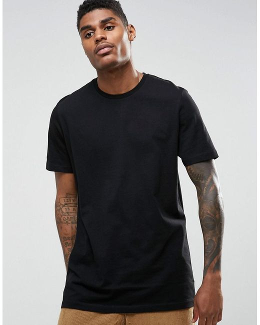 ASOS | Black Longline T-shirt for Men | Lyst