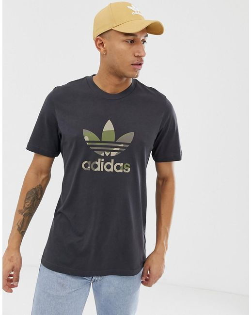 outlet store 9e23f 35aee Adidas Originals - Camo Trefoil Filled T-shirt In Black for Men - Lyst ...