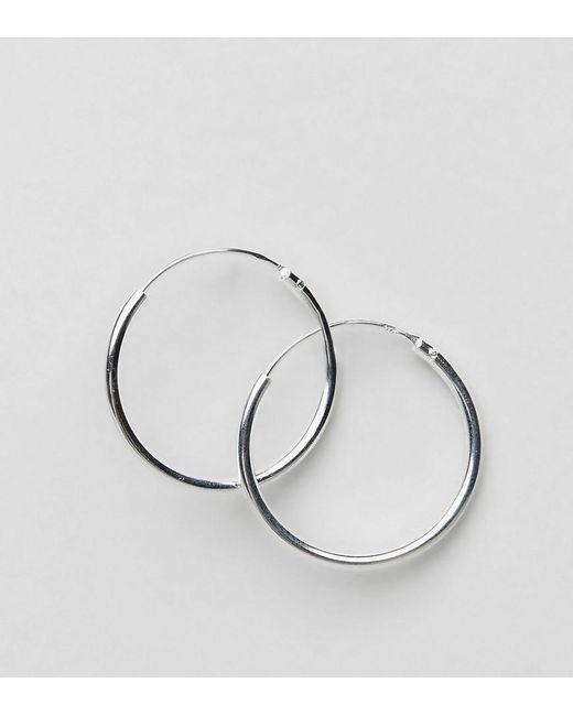 ASOS - Metallic Design Sterling Silver 20mm Hoop Earrings - Lyst