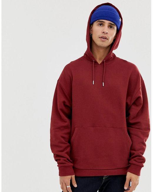 6effde57 ASOS - Red Oversized Hoodie In Burgundy for Men - Lyst ...