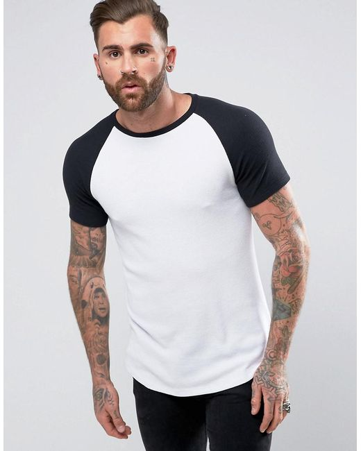 ASOS - Longline Muscle T-shirt In Heavy Waffle With Contrast Raglan Sleeves In White for Men - Lyst