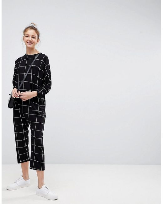 ASOS - Black Asos Minimal Jersey Jumpsuit With Batwing Sleeve In Check Print - Lyst