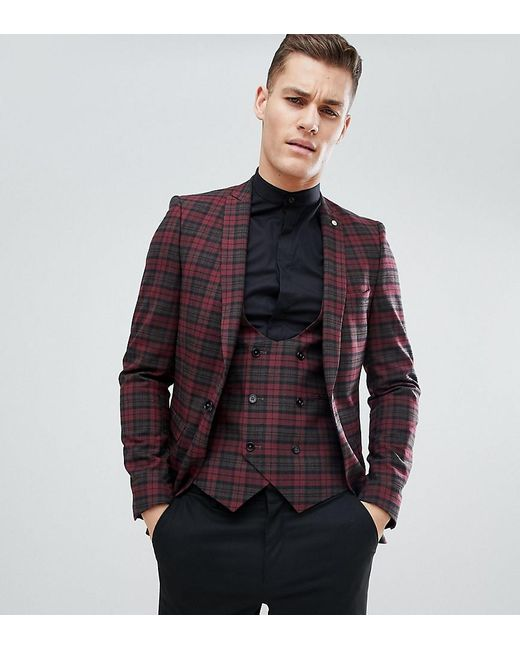 dab7022fe520 Noose And Monkey - Red Tall Super Skinny Suit Jacket In Tartan Check for Men  ...