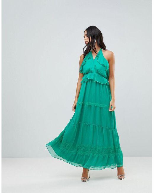 Adelyn Rae - Green Frill Maxi Dress - Lyst
