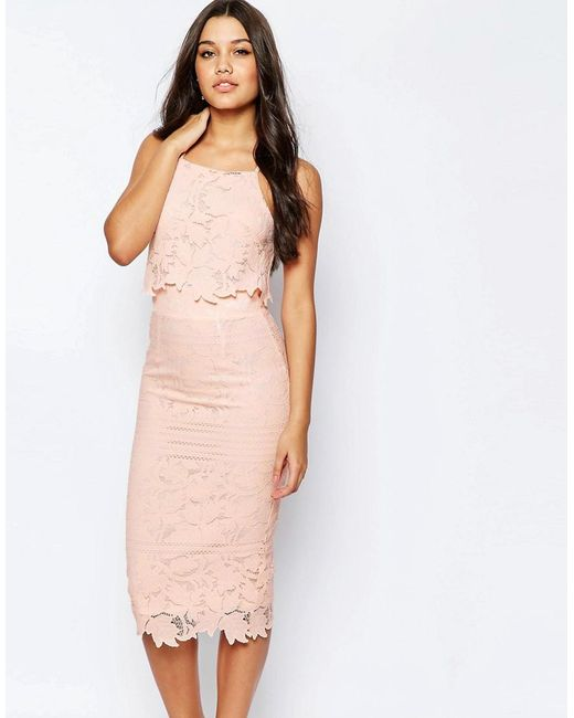 ASOS | Pink Lace Floral Scallop Midi Dress | Lyst