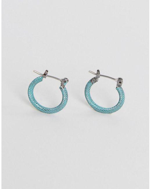ASOS | Metallic Hoop Earring In Burnished Coated Metal | Lyst