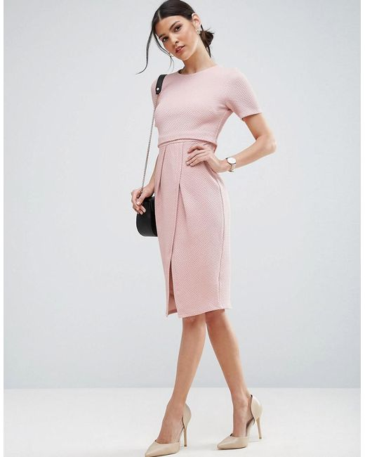 ASOS   Pink Double Layer Textured Wiggle Dress   Lyst