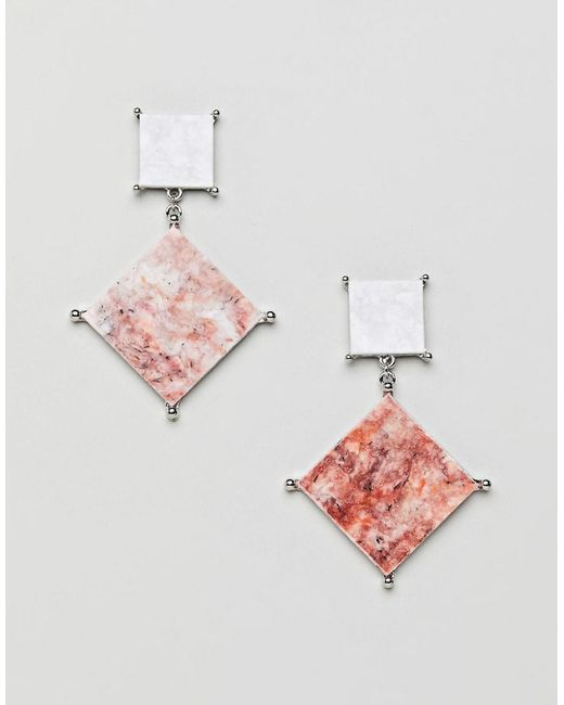 ASOS - Metallic Asos Earrings With Coloured Marble Effect Recycled Cotton Stone - Lyst