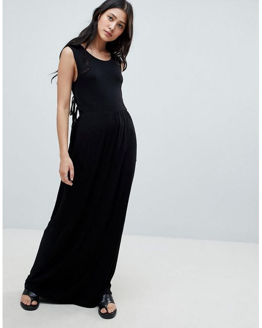 NYTT - Black Madelyn Side Tie Maxi Dress - Lyst