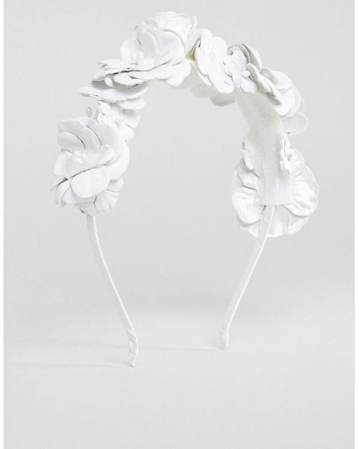 DESIGN Statement Leather Look Floral Headband - White Asos DALccLCL