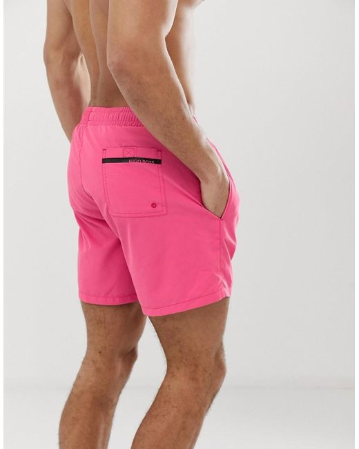 73b98f02 BOSS Dolphin Logo Swim Shorts In Pink in Pink for Men - Lyst