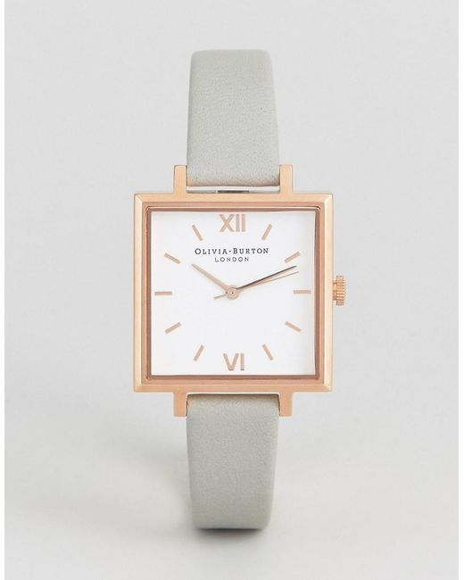 Olivia Burton | Large Gray Square Dial Watch | Lyst