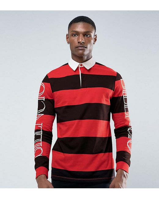Asos tall relaxed long sleeve rugby polo with block stripe for Big and tall polo rugby shirts
