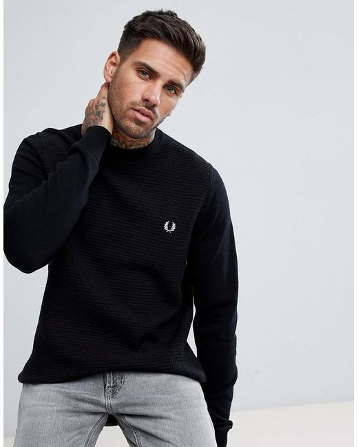 Fred Perry - Black Textured Knitted Crew Neck Jumper In Navy for Men - Lyst  ...
