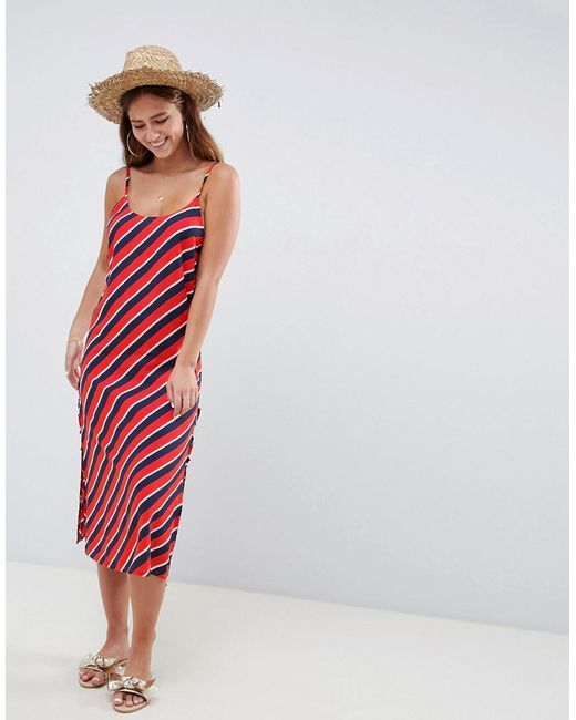 5e887372d5 ASOS - Red Stripe Print Lace Up Side Beach Dress - Lyst ...