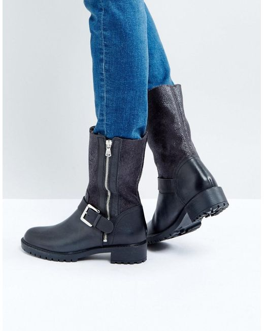 Dune | Black Faux Fur Lined Mid-calf Boot | Lyst