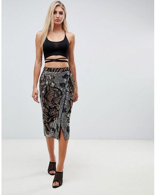 7d218b5838 ASOS - Black Tiger Face Embellished Midi Wrap Skirt - Lyst ...
